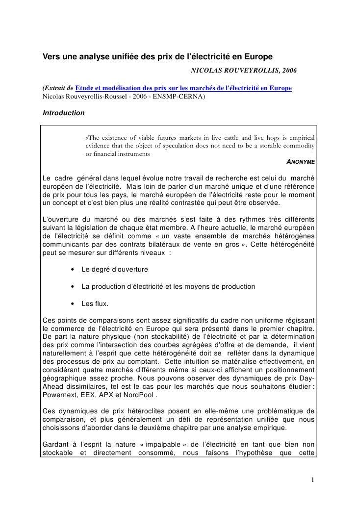 Vers une analyse unifiée des prix de l'électricité en Europe                                                     NICOLAS R...