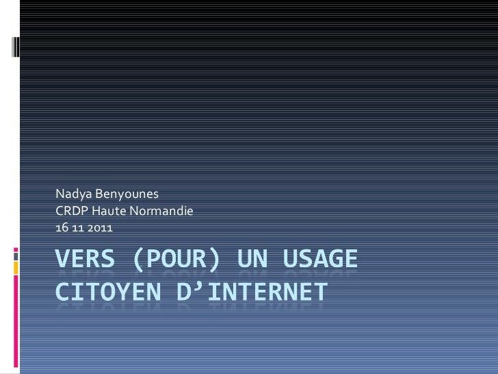 Vers un usage citoyen d'internet