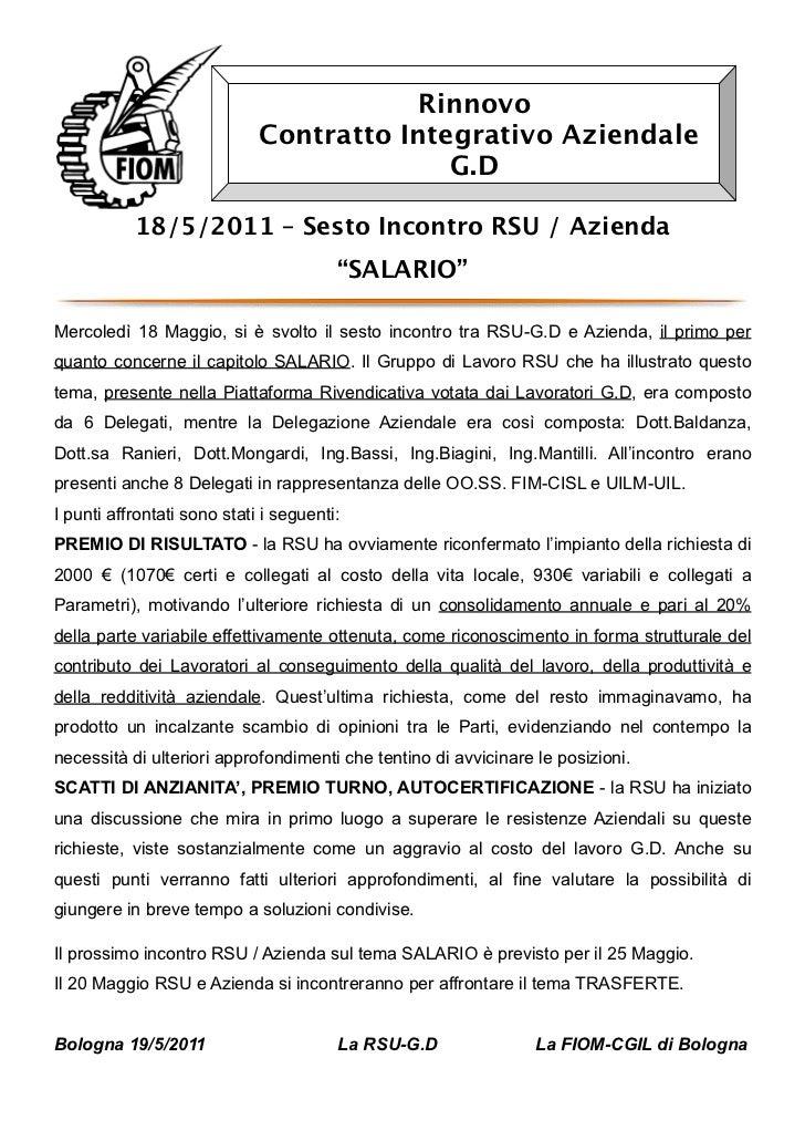 Rinnovo                             Contratto Integrativo Aziendale                                           G.D         ...