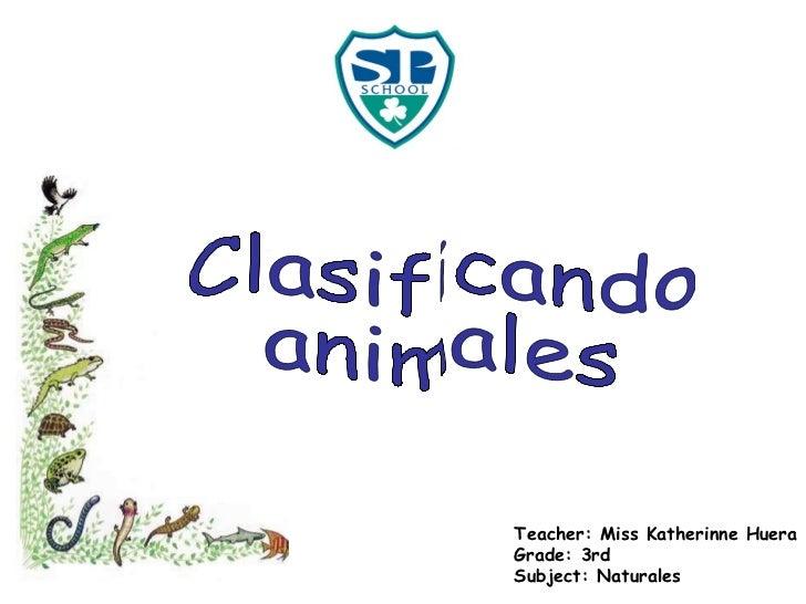 Teacher: Miss Katherinne Huera Grade: 3rd Subject: Naturales Clasificando animales