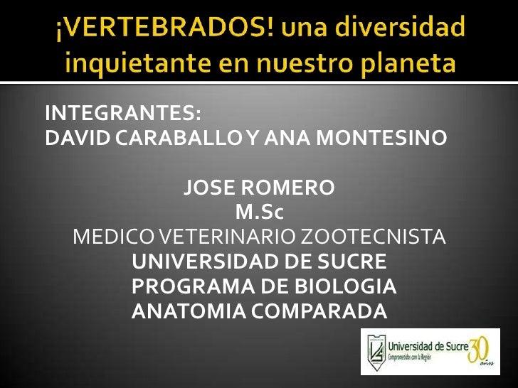 ¡VERTEBRADOS! una diversidad inquietante en nuestro planeta<br />INTEGRANTES: <br />DAVID CARABALLO Y ANA MONTESINO<br />J...