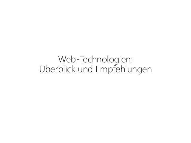 Web-Technologien: Überblick und Empfehlungen