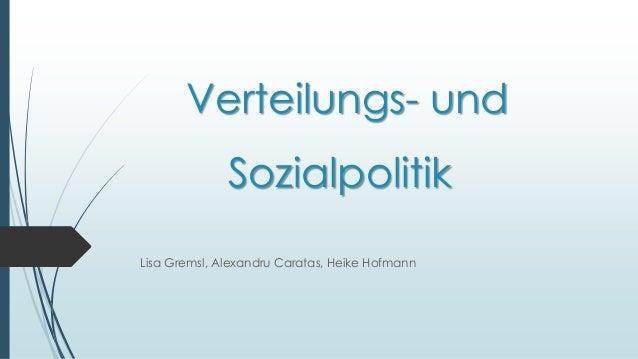 Verteilungs- und  Sozialpolitik  Lisa Gremsl, Alexandru Caratas, Heike Hofmann