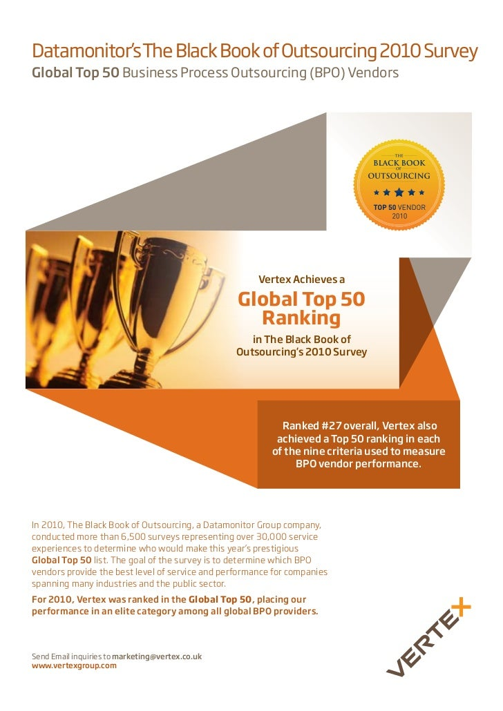 Datamonitor's The Black Book of Outsourcing 2010 SurveyGlobal Top 50 Business Process Outsourcing (BPO) Vendors           ...