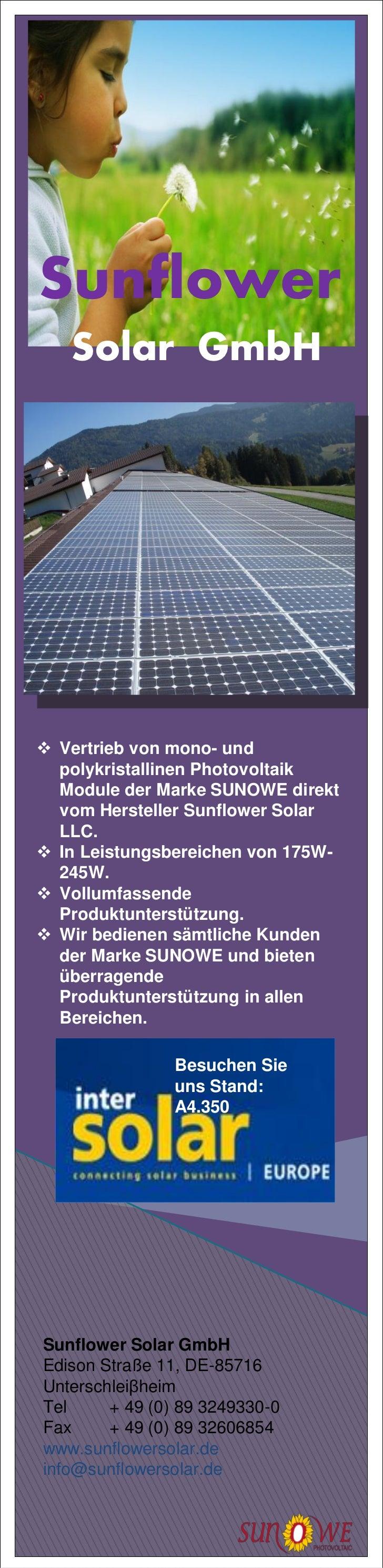 Sunflower   Solar GmbH Vertrieb von mono- und  polykristallinen Photovoltaik  Module der Marke SUNOWE direkt  vom Herstel...