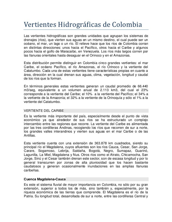 Vertientes hidrográficas de colombia