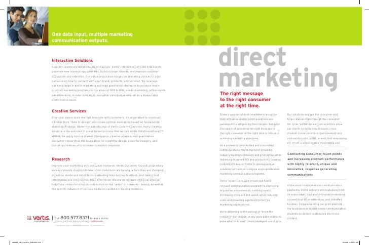 direct marketing The right message to the right consumer at the right time. Today's successful direct marketers recognize ...