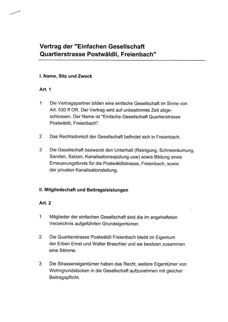"""Vertragder """"Einfachen                     Gesellschaft QuartierstrassePostwäldli,                          Freienbach""""   l..."""