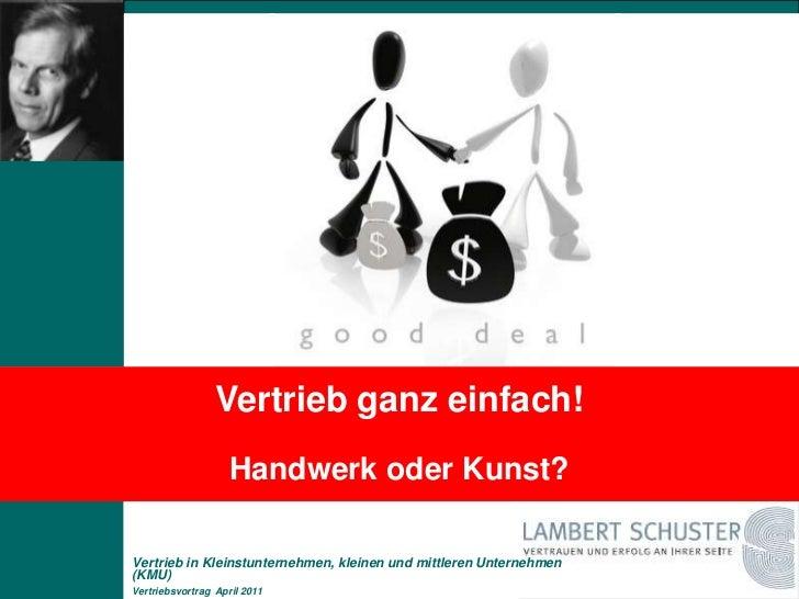 Vertrieb in Kleinstunternehmen, kleinen und mittleren Unternehmen (KMU)
