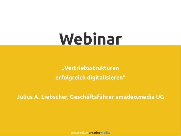 "Webinar ""Vertriebsstrukturen erfolgreich digitalisieren"" Julius A. Liebscher, Geschäftsführer amadeo.media UG powered by a..."