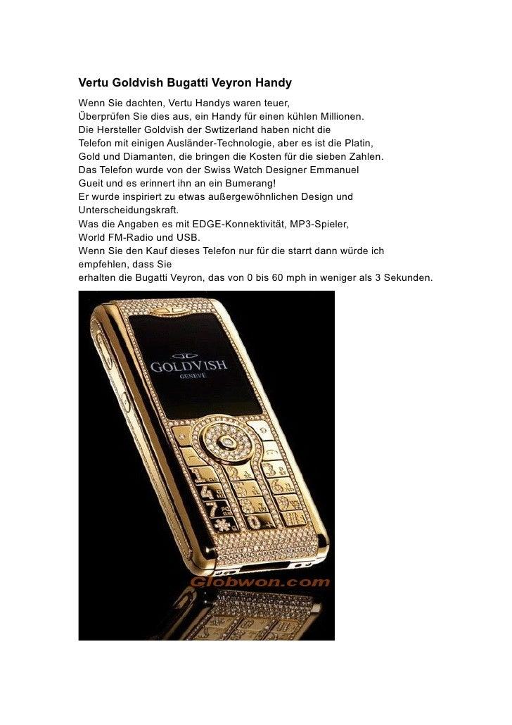 Vertu Goldvish Bugatti Veyron Handy Wenn Sie dachten, Vertu Handys waren teuer, Überprüfen Sie dies aus, ein Handy für ein...