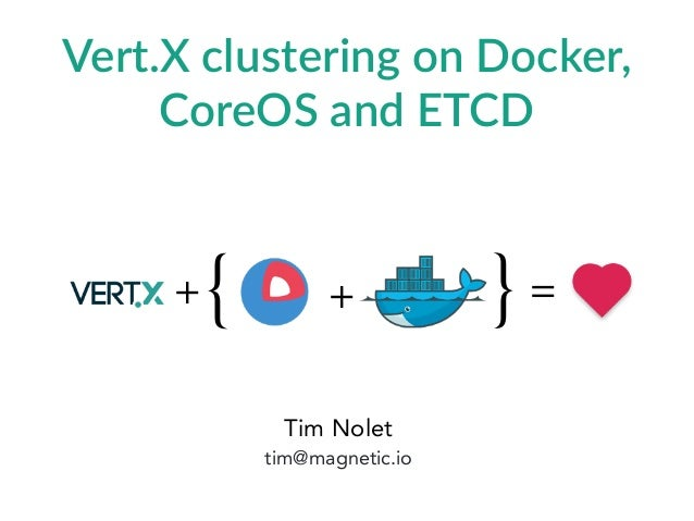 Tim Nolet tim@magnetic.io Vert.X  clustering  on  Docker,   CoreOS  and  ETCD =+{ }+