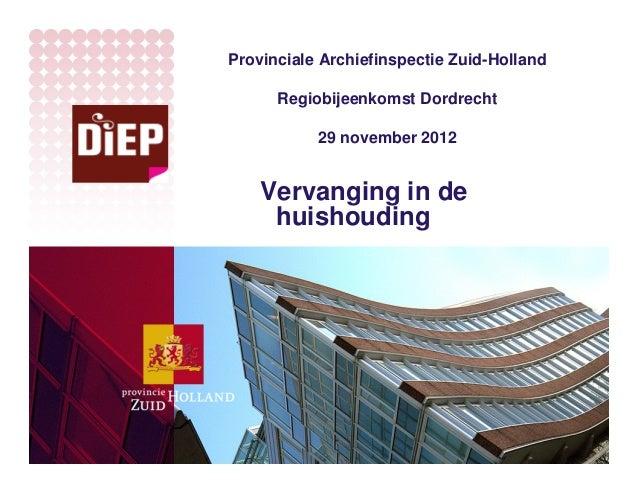 Provinciale Archiefinspectie Zuid-Holland      Regiobijeenkomst Dordrecht           29 november 2012    Vervanging in de  ...