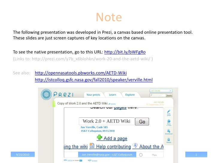 NoteThe following presentation was developed in Prezi, a canvas based online presentation tool.These slides are just scree...