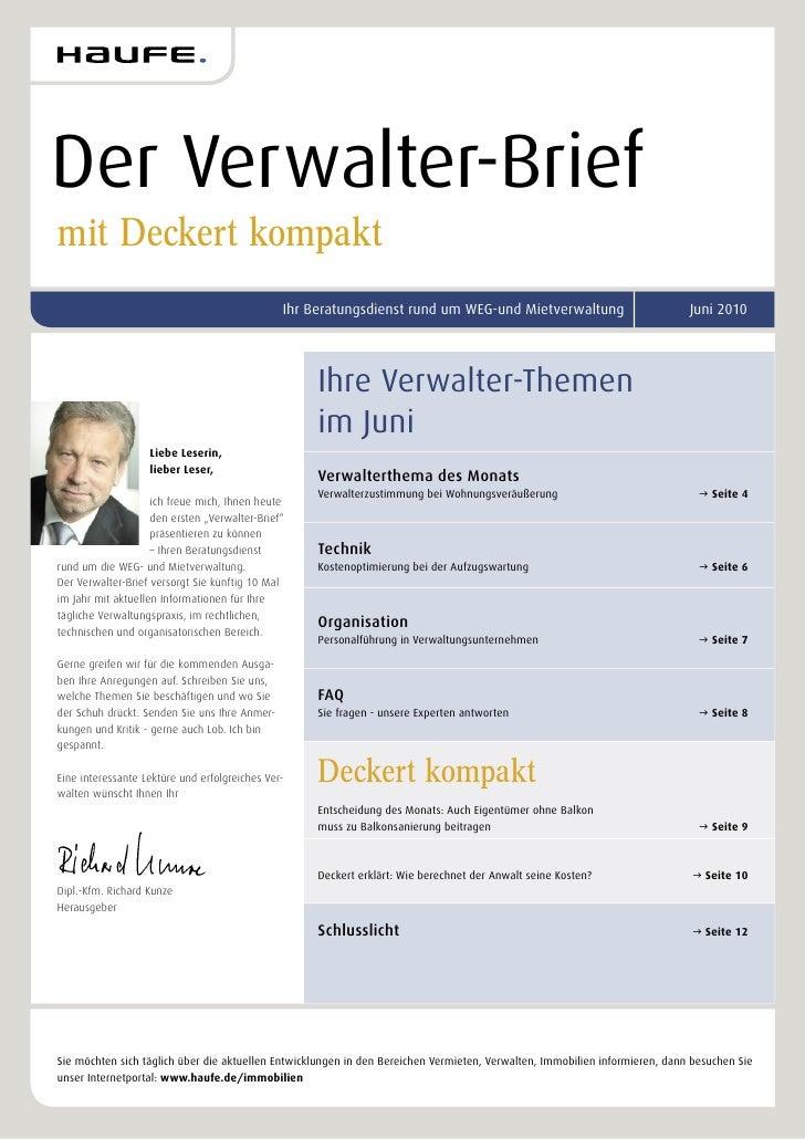 Der Verwalter-Briefmit Deckert kompakt                                               Ihr Beratungsdienst rund um WEG-und M...