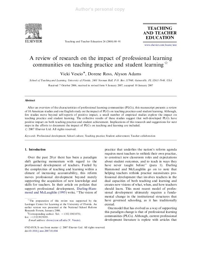 Article 3 : Impact of Professional Learning Communities on Teaching Practice and Student Learning