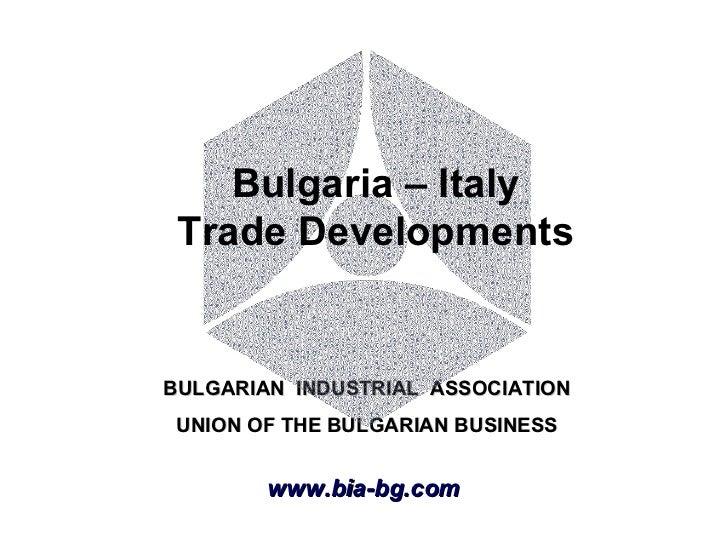 Bulgaria – Italy Trade Developments