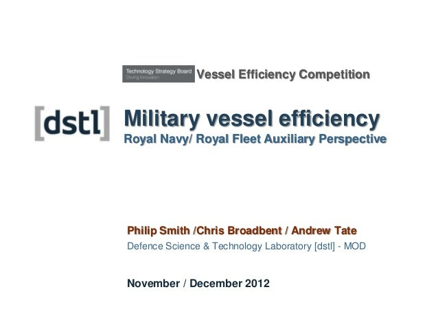 Vessel Efficiency CompetitionMilitary vessel efficiencyRoyal Navy/ Royal Fleet Auxiliary PerspectivePhilip Smith /Chris Br...