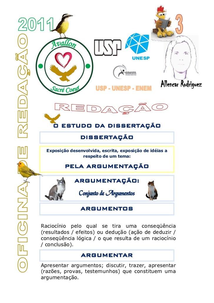 Vest 2012   apostila 3 redação usp unesp enem dissertação 1
