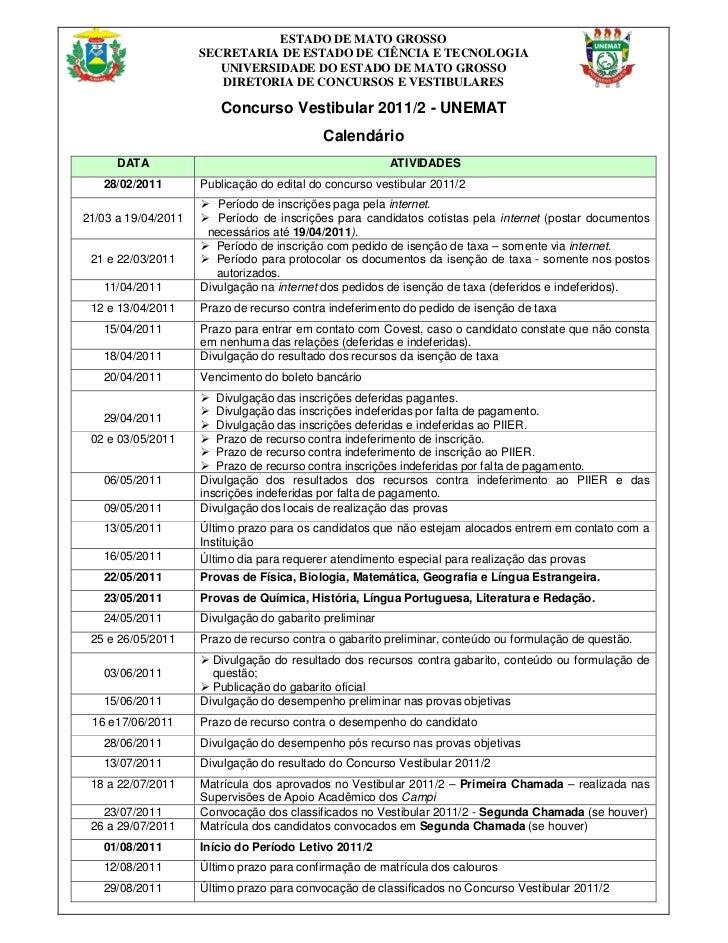 ESTADO DE MATO GROSSO                     SECRETARIA DE ESTADO DE CIÊNCIA E TECNOLOGIA                        UNIVERSIDADE...