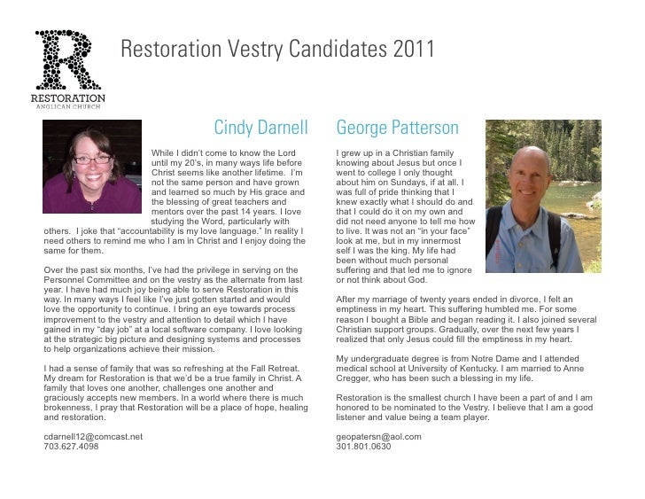 Restoration Vestry Candidates 2011                                             Cindy Darnell               George Patterso...