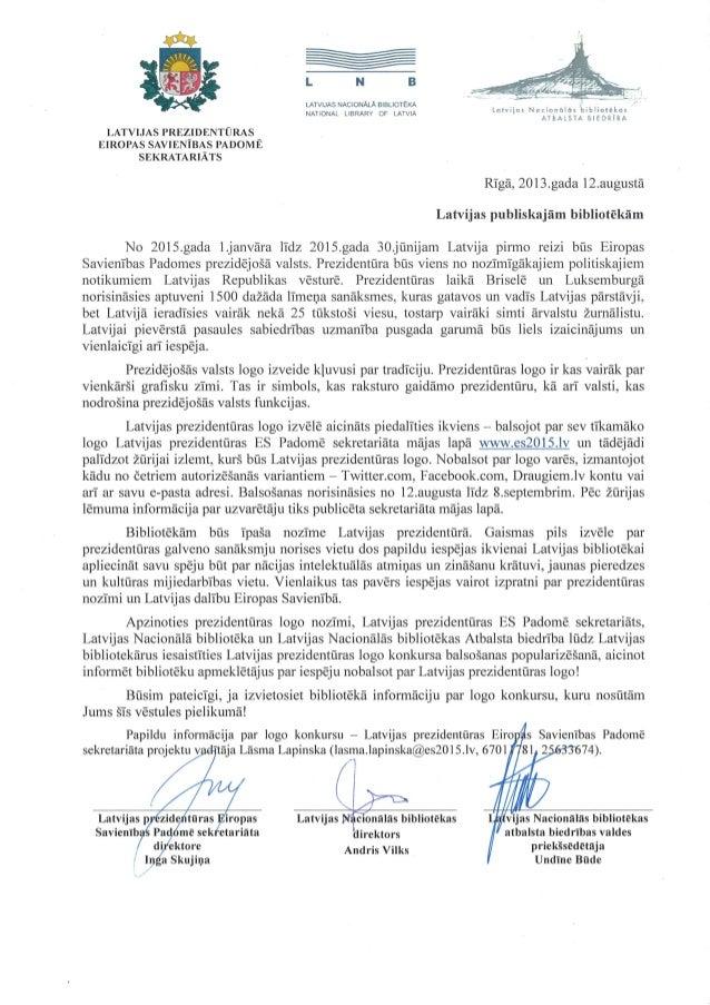Latvijas prezidentūras logo konkurss (vēstule publiskajām bibliotēkām)