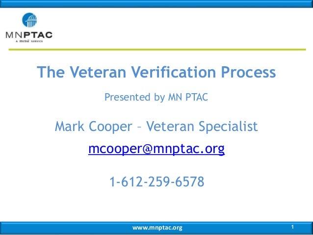 The Veteran Verification Process