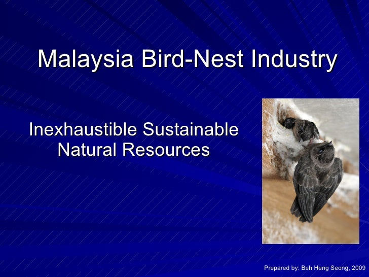 Malaysia Bird-Nest Industry Inexhaustible Sustainable Natural Resources Prepared by: Beh Heng Seong, 2009