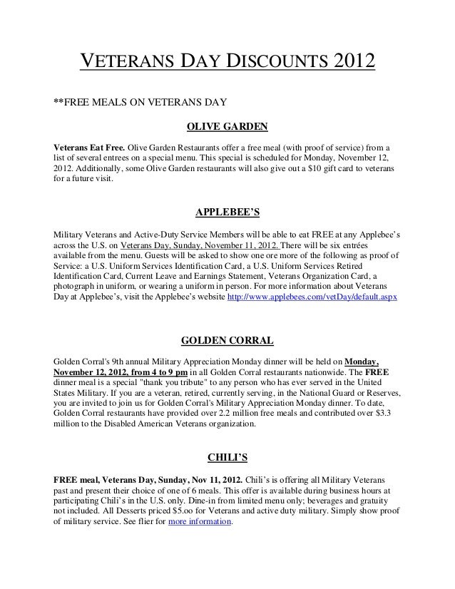 VETERANS DAY DISCOUNTS 2012**FREE MEALS ON VETERANS DAY                                      OLIVE GARDENVeterans Eat Free...
