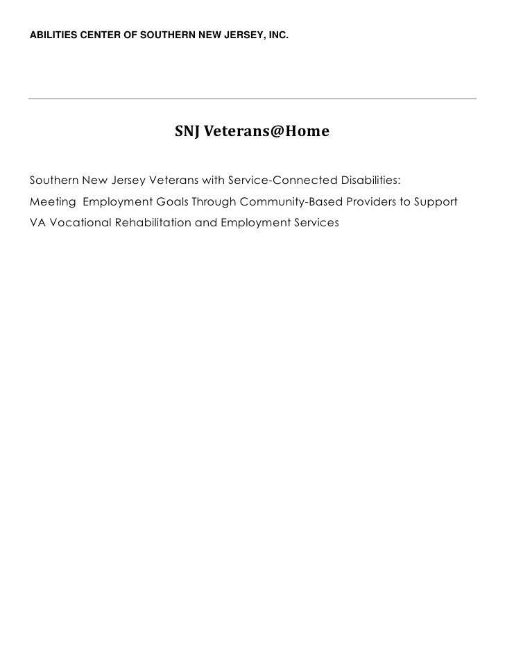 ABILITIES CENTER OF SOUTHERN NEW JERSEY, INC.                         SNJ Veterans@HomeSouthern New Jersey Veterans with S...