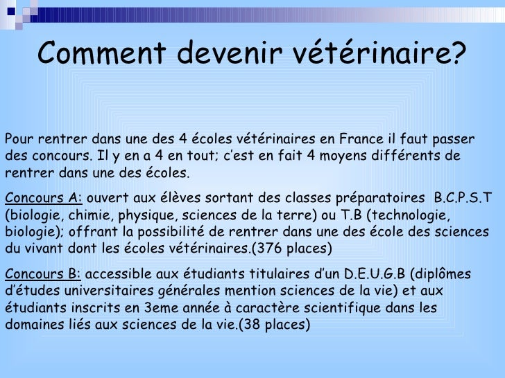 comment devenir veterinaire