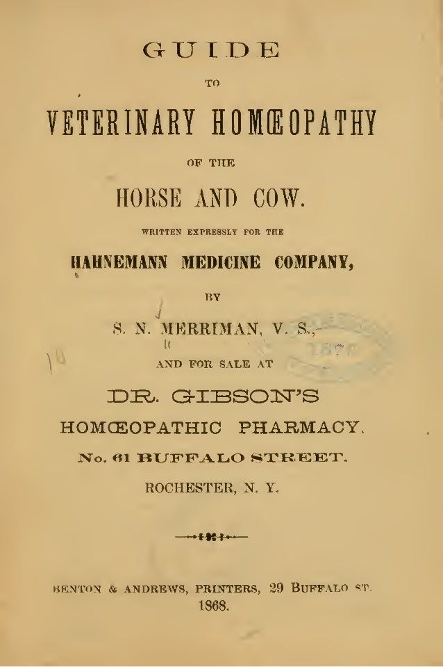 Veterinary Homeopathy of the Horse and Cow