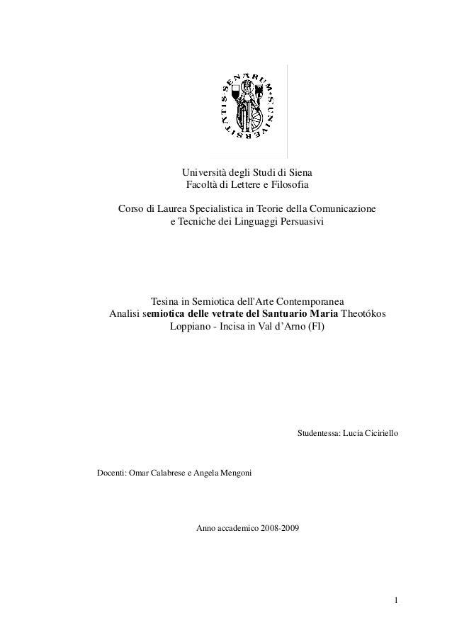 Università degli Studi di Siena                      Facoltà di Lettere e Filosofia     Corso di Laurea Specialistica in T...