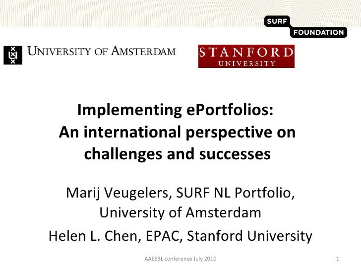 Implementing ePortfolios:  An international perspective on challenges and successes Marij Veugelers, SURF NL Portfolio, Un...