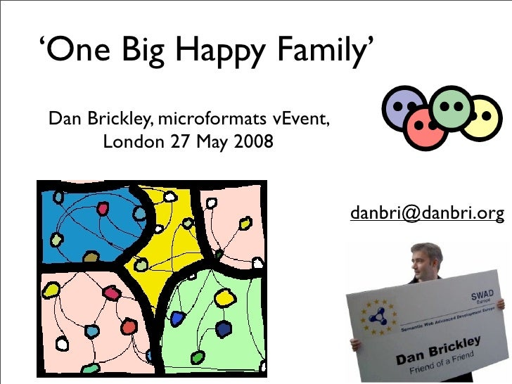 'One Big Happy Family' Dan Brickley, microformats vEvent,       London 27 May 2008                                        ...