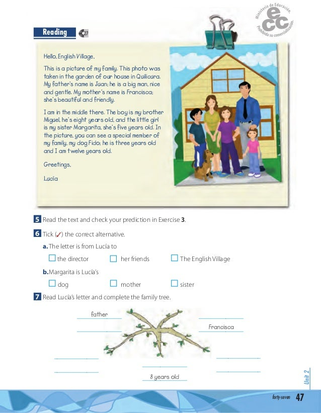 Complete a text about your family make a family tree