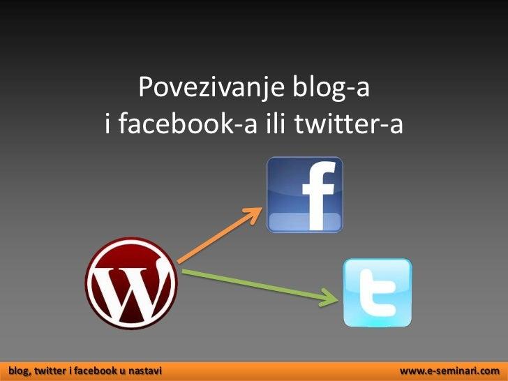 Veza izmedju bloga i fb a