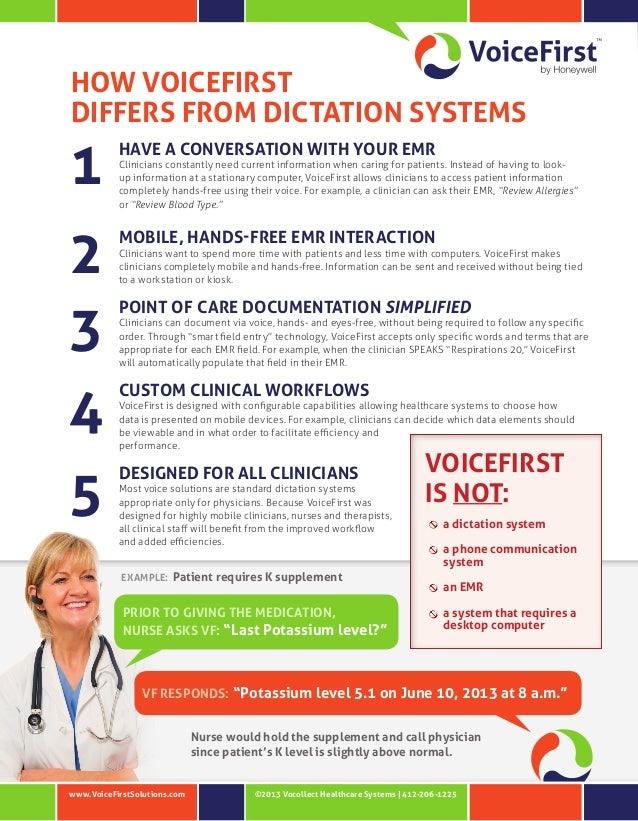 HOW VOICEFIRST DIFFERS FROM DICTATION SYSTEMS  1 2 3 4 5  HAVE A CONVERSATION WITH YOUR EMR  Clinicians constantly need cu...