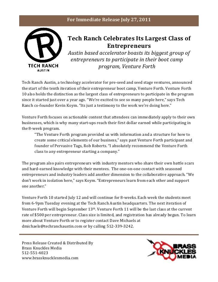 For Immediate Release July 27, 2011                                               Tech Ranch Celebrates...