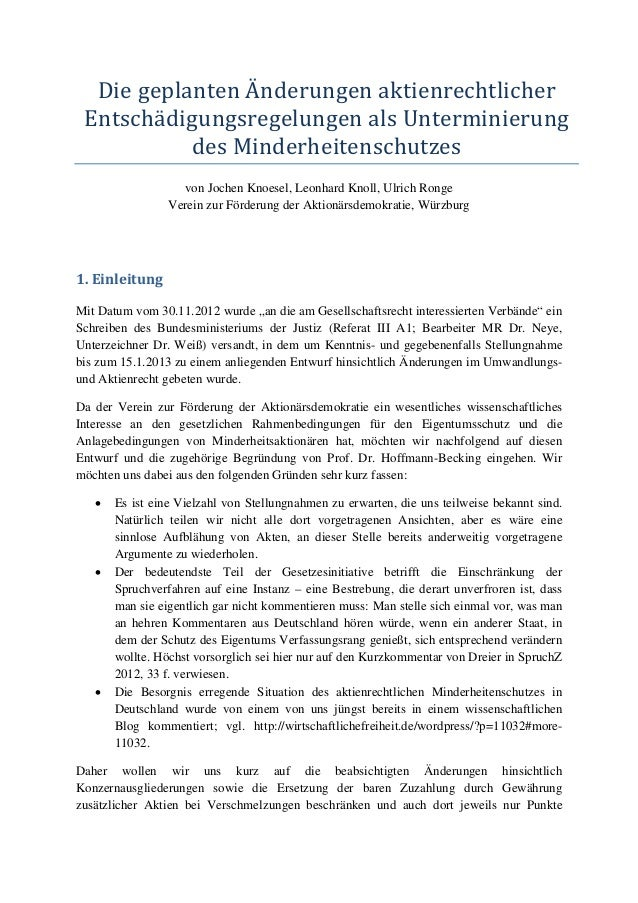 Die geplanten Änderungen aktienrechtlicher Entschädigungsregelungen als Unterminierung           des Minderheitenschutzes ...