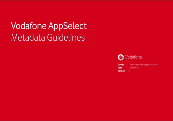 Vodafone AppSelect Metadata Guidelines