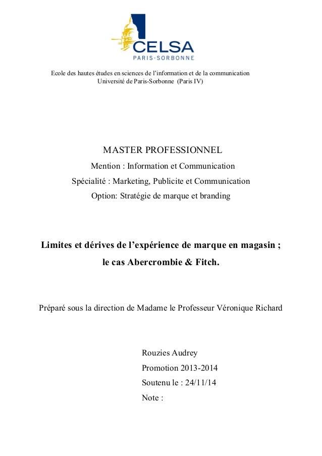 MASTER PROFESSIONNEL Mention : Information et Communication Spécialité : Marketing, Publicite et Communication Option: Str...