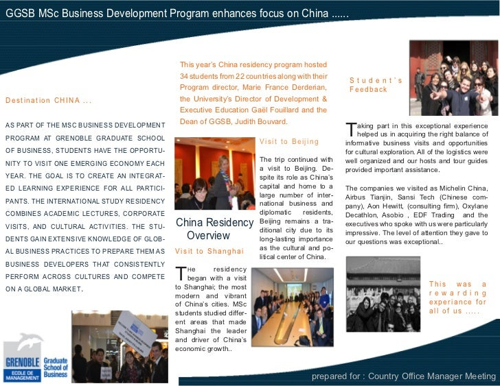 China Residency Trip- MSc Business Declopment GGSB