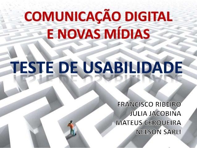COMUNICAÇÃO DIGITALE NOVAS MÍDIAS