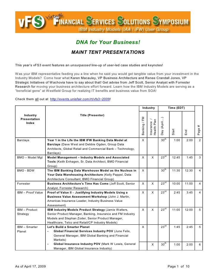 DNA for Your Business!                                       MAINT TENT PRESENTATIONS  This year's vFS3 event features an ...