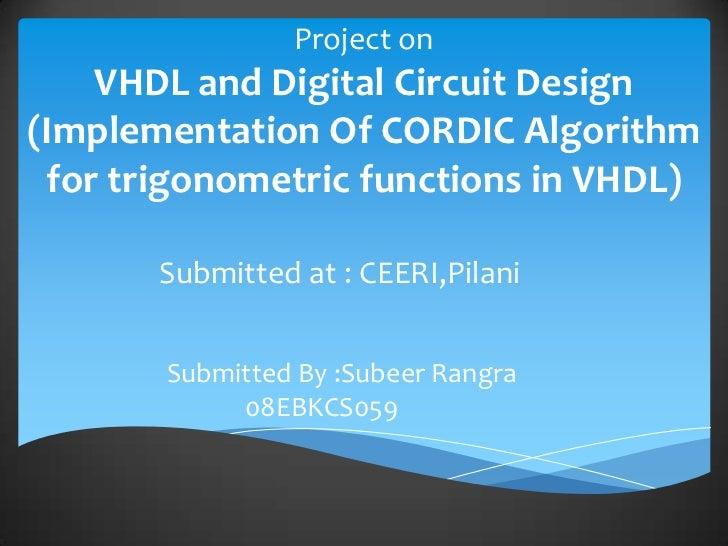 VHDL and Cordic Algorithim