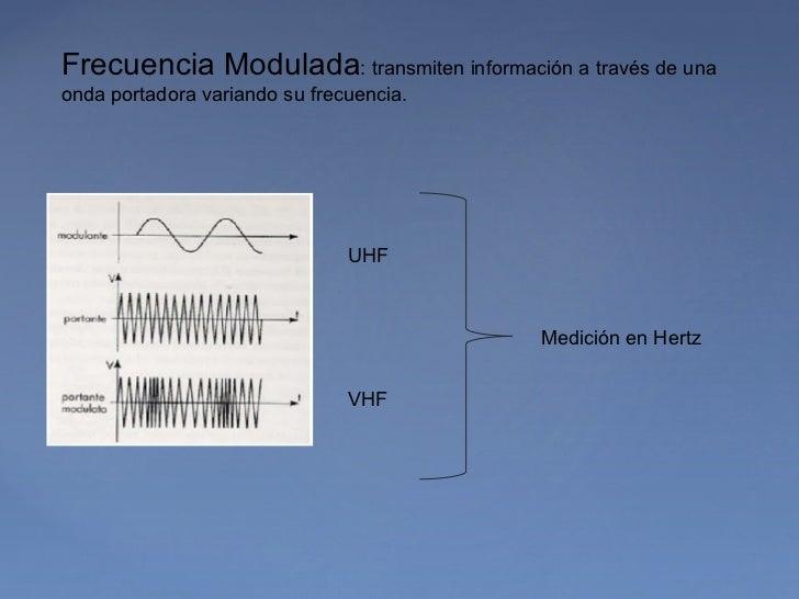 Frecuencia Modulada: transmiten información a través de unaonda portadora variando su frecuencia.                         ...