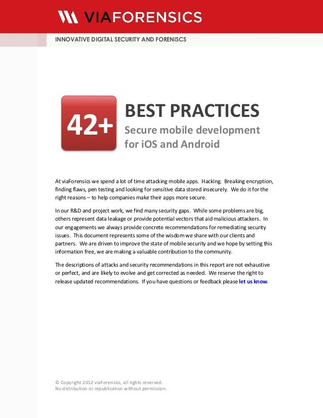 INNOVATIVE DIGITAL SECURITY AND FORENISCS                                BEST PRACTICES     42+                        Sec...