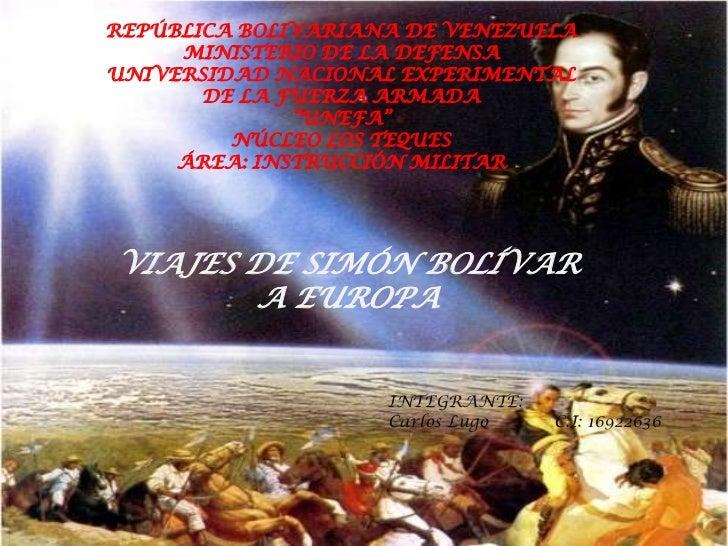 REPÚBLICA BOLIVARIANA DE VENEZUELA     MINISTERIO DE LA DEFENSAUNIVERSIDAD NACIONAL EXPERIMENTAL       DE LA FUERZA ARMADA...