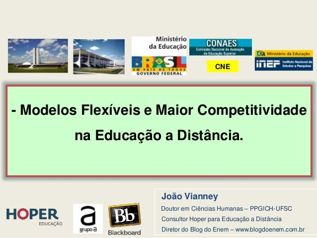 - Modelos Flexíveis e Maior Competitividade na Educação a Distância. João Vianney Doutor em Ciências Humanas – PPGICH-UFSC...
